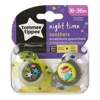 Tommee Tippee пустышка силиконовая ночная, 18-36 мес. 2 шт