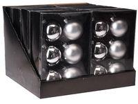 купить Набор шаров 6X65mm, 3матов, 3глянц, серебряных, в коробке в Кишинёве