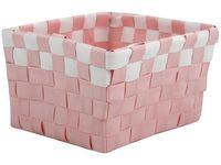 Cos impletit14X14X9cm roz cu alb, plastic