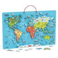 Магнитный Пазл Карта мира с маркерной доской
