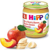 Piure de mere, piersici și banane Hipp (4+ luni), 125g