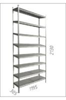 купить Стеллаж металлический с металлической плитой - 1195x305x2130 мм, 8 полок/MB в Кишинёве