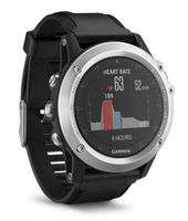 GARMIN Fenix 3 HR- Silver Edition with black silicone band