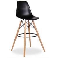 купить Барный стул из пластика и деревянными ножками, черный в Кишинёве