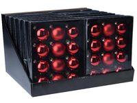 Set globuri 12X57mm, 4mate, 8lucioase, rosu clasic, in cutie