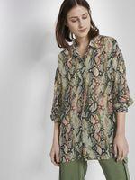 Блуза TOM TAILOR Зеленый с принтом