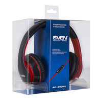 купить SVEN AP-940MV Black-Red, Headphones with microphone, 3.5mm (4 pin) or 2*3.5 mm (3 pin) stereo mini-jack, Call receive/Pause button, Flat cable, Cable length: 1.2m + 1m (adapter for PC), Black/Red в Кишинёве