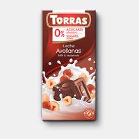 Шоколад молочный с лесными орехами без сахара без глютена Torras 75г
