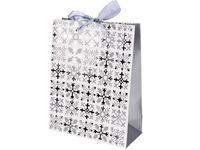 """Пакет подарочный """"Зимний орнамент"""" 23X18X8cm серебряный"""