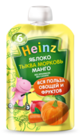 Heinz пюре яблоко, морковь, тыква и манго 5 мес. 90г