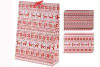 cumpără Punga pentru cadouri de Craciun alb-rosie 34.5X25X8.5cm în Chișinău