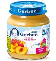 Gerber пюре  персик с творогом  6 мес., 125 г