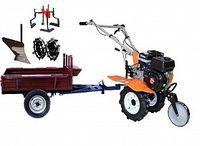 Набор мотоблок TECHNOWORKER HB 700N+Прицеп RK500 + плуг простой + металлические колеса 4*8 + мотыга