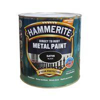 Hammerite Краска для металла Черная полуматовая 0.25л