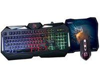 Tastatură pentru jocuri și mouse și mouse pad Qumo Spirit of Wisdom, taste rapide Fn, lumină de fundal cu 7 culori, negru, USB