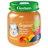 Gerber Organic Пюре яблоко-абрикос-персик 125 гр. (5 м +)