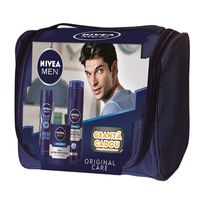 SET NIVEA Men Original Bag (Balsam dupa ras Original, 100ml+Gel de ras Original, 200ml+Deodorant spray Fresh, 150ml)