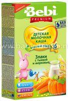 Bebi Молочная каша Premium злаки с тыквой и морковью (6+) 200 гр.