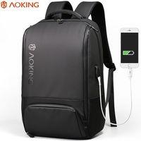 """Рюкзак Aoking SN77880A для ноутбука дo 15.6"""", с USB-портом, водонепроницаемый, черный"""