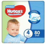 Подгузники для мальчиков Huggies Ultra Comfort 4 (8-14 кг)  80 шт.