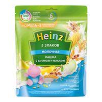 Heinz каша 5 злаков молочная с бананом и яблоком Omega 3, 6+мес. 200г