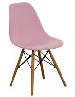 cumpără Scaun din plastic, picioare din lemn cu suport metalic, 500x460x450x820 mm, roz în Chișinău