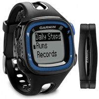 GARMIN Forerunner 15 Bundle - Large - Black & Blue GPS Running Watch with Heart Rate, Tracks distance, pace, heart rate and calories, Activity tracking counts steps and calories
