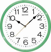 Часы RHYTHM настенные, круглые/зеленые