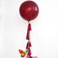 купить Большой латексный бордовый шар 91 см с гирляндой тассел в Кишинёве