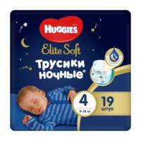 Ночные трусики Huggies Elite Soft 4 (9-14 kg) 19 шт