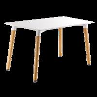 cumpără Masă dreptunghiulară cu picioare din lemn, de culoare albă. Dimensiuni: 1600x900x750 mm în Chișinău