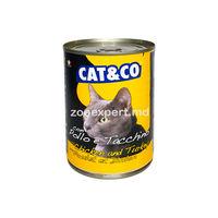 Cat & Co кусочки курицы с индейкой в соусе 405 gr