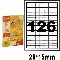 Этикетки самоклеящиеся A4, 100 л., 126 шт., 28x15 мм