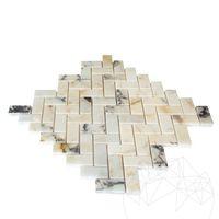 Мозаичный мрамор Arabescato Herringbone Полированный 2,3 x 5 см