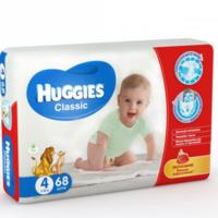 Huggies подгузники  Classic Mega 4, 7-18кг. 68шт