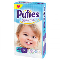 Pufies scutece Sensitive 4+, 9-16 kg 50 buc.