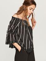 Блуза RESERVED Черный в полоску rr473-99x