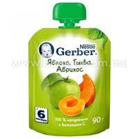 Gerber Пюре «Яблоко-тыква-абрикос»  90 гр. (6+)