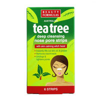 Очищающие полоски для носа Beauty Formulas  Tee Tree , 6 шт