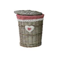 cumpără Coş rotund din salcie cu textil 370x490 mm, rosu în Chișinău