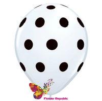 купить Воздушный шар белый  с рисунком Горошек - 30 см в Кишинёве