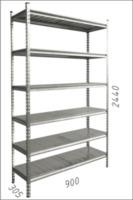 купить Стеллаж металлический с металлической плитой 90x305x2440 мм, 6 полок/MB в Кишинёве