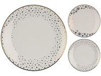 Тарелка сервировочная 27cm Gold Rim Stars, белая, фарфор