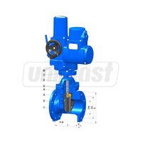 купить Задвижка чугун dn100mm PN16 обрезиненный клин DIN (L=19.0cm) + электропривод   Wato 8 отверстий в Кишинёве