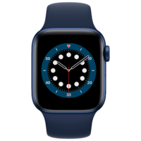Apple Watch Series 6 44mm Blue Aluminum Case with Deep Navy Sport Band, M00J3