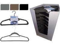 Набор вешалок костюмных 10шт, ворс/пластик, черный/серый