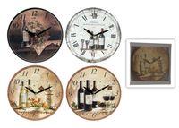 """Часы настенные """"Ретро"""" D28cm, цветы/вино/кофе/авто"""