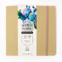 Sketchbook Malevich pentru acuarela Waterfall Natura, textura fina, olive, 200 gm, 19x19, 20 foi