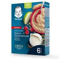 Gerber каша Мультизлаковая молочная с яблоком и малиной, 8 + мес, 180 гр