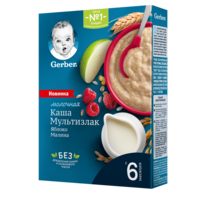 Каша мультизерновая с молоком яблоко-малина Gerber, с 6 месяцев, 180г